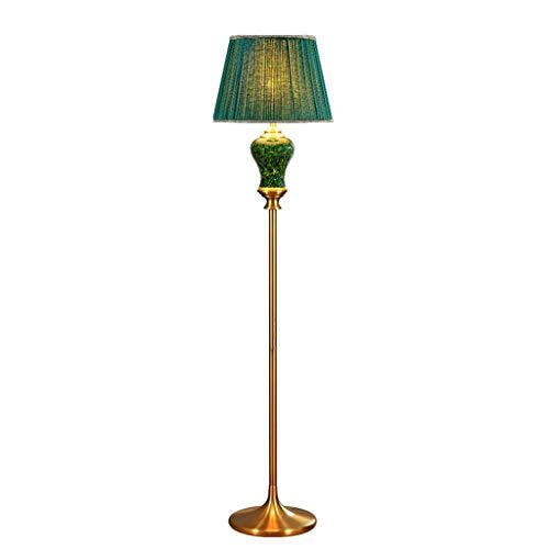 Jixi Staande lamp, keramische vloerlamp, stoffen lampenkap, staande lamp, woonkamer, salontafel, staande lamp, Europese slaapkamer, nachtkastje