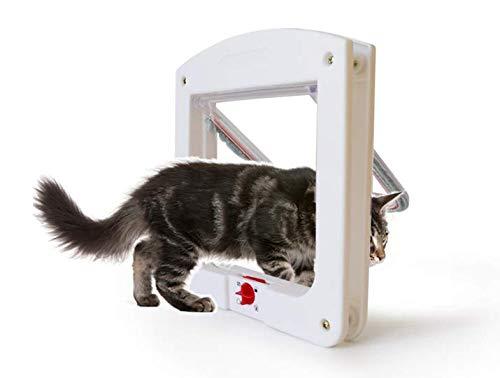 Alihoo Katzenklappe, manuell, 4-Wege-Verriegelung, Klassische Haustiertür, einfache Installation, universell einsetzbar, langlebig, praktisch, Haustiertür für Katzen