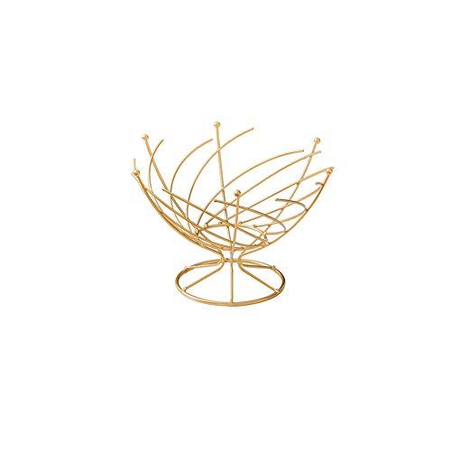 Dniu cuenco de metal para frutas y verduras, encimera, soporte para cesto de pan, forma de espiral, organizador para la cocina del hogar, para almacenar frutas y alimentos (dorado, 26x17 cm)