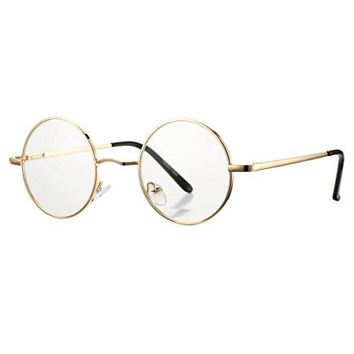 COASION Vintage Round Clear Glasses Small Metal Frame Non Prescription Lens Eyeglasses (Gold) Arizona