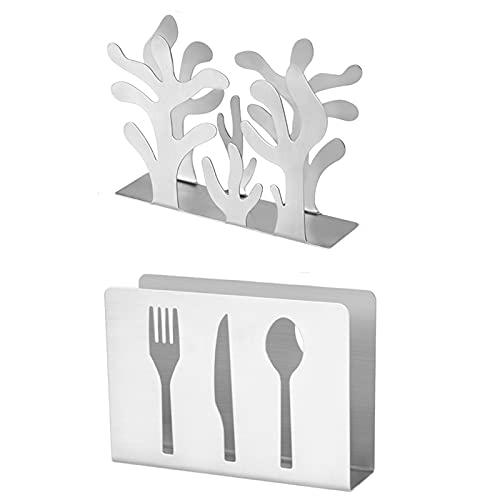 2 Pezzi Supporto per Tovaglioli da Cucina, Portatovaglioli in Acciaio Inossidabile, Moderno Porta Tovaglioli Rettangolari, Adatto per Essere Posizionato sul Tavolo da Pranzo(Argento)
