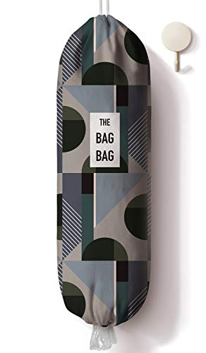 Abstract Pattern Grocery Bag Storage Holder, Grocery Shopping Bags Carrier with Hooks, Plastic Bag Dispenser, Organizer Recycling Grocery Pocket Containers for Home and Kitchen, 23x9 inch
