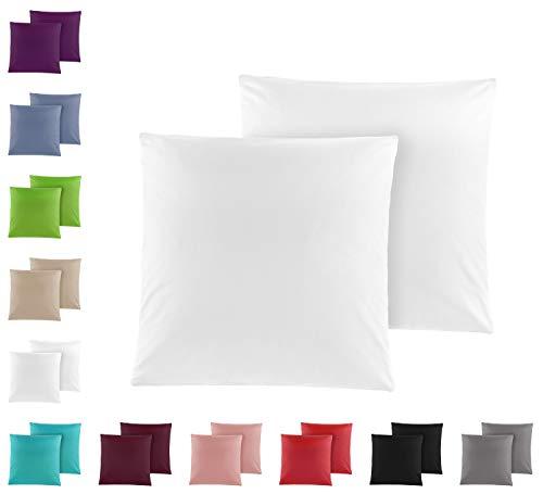 Doppelpack Baumwolle Renforcé Kissenbezug, Kissenbezüge, Kissenhüllen 80x80 cm in vielen modernen Farben Weiss
