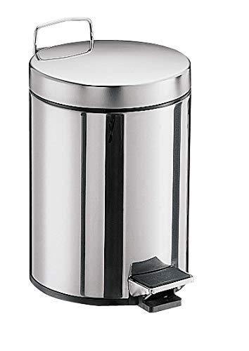 Emco System 2 Kosmetikeimer, Inhalt 5 Liter, rund, Edelstahl, Treteimer mit Deckel, Abfallbehälter – 355300000