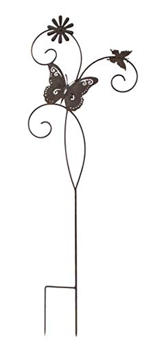 DARO DEKO Metall Garten-Stecker 100cm Zwei Schmetterlinge