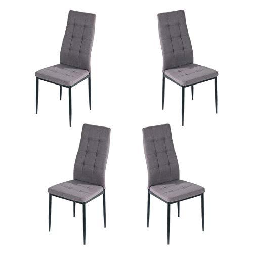 Brigros - Sedie di Tessuto Milano - Set da 4 Sedie Design per Sala da Pranzo, Sedie da Cucina, Ufficio, Sala d'Attesa, Camera da Letto (Grigio)