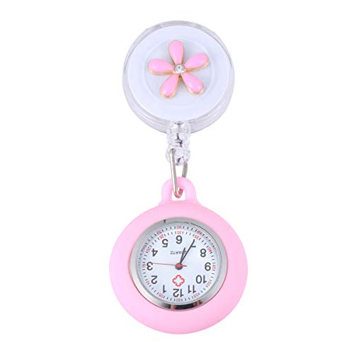 Hemobllo Retractable Nurse Watch Portable Pocket Watch Clip On Watch Cute Leaves Watch with Second Hand for Doctor Pink