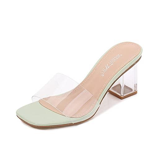 ypyrhh Zapatos Unisex Adulto,Zapatillas Transparentes de Cristal,cinturón de Palabras con Sandalias.-Verde_35,Zapatillas Flip Flops Sandal