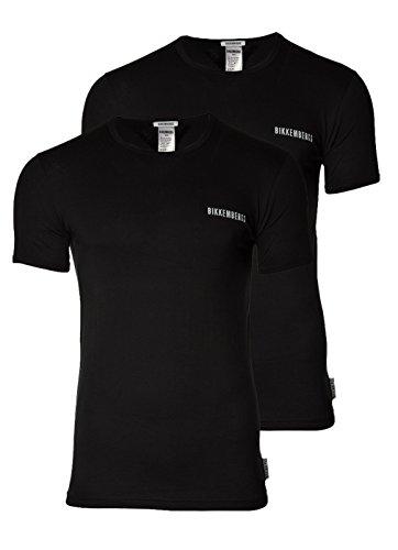 BIKKEMBERGS Uomo T-Shirt BIPACK, 2 pack Girocollo Logo T-shirt: Colour: Black | Size: X-Large