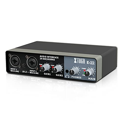 XTUGA E22 Audio Interface True Stereo Sound Card For Recording For PC/Win/Mac,2 In 2 Out,USB Audio Interfaces, 24-bit/192 kHz,TRS balanced,with Headphone Amplifier