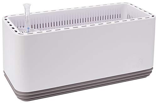 AIRY System L (ancho x profundo): 50 x 22 cm. Sistema patentado con la fuerza de las plantas como purificador de aire natural y humidificador para interiores (blanco envejecido/gris claro).