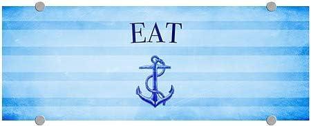 8x3 Nautical Stripes Premium Acrylic Sign CGSignLab 5-Pack Eat