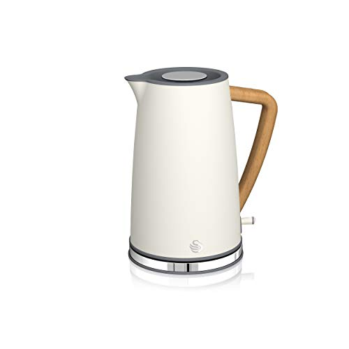 Swan SK14610WHTN, Nordic Rapid Boil Jug Kettle, Wood Effect Handle, Soft Touch Housing and Matt Finish, 3kw, 1.7 Litre, Cotton White