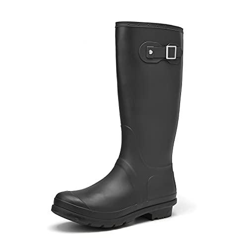 Camfosy Gummistiefel Damen, Langschaft Regenstiefel Wasserdicht Wellington Boots Casual Garten Stiefel Rain Boots rutschfest Schlupfstiefel Outdoor Gartenschuhe Schwarz Blau Grau
