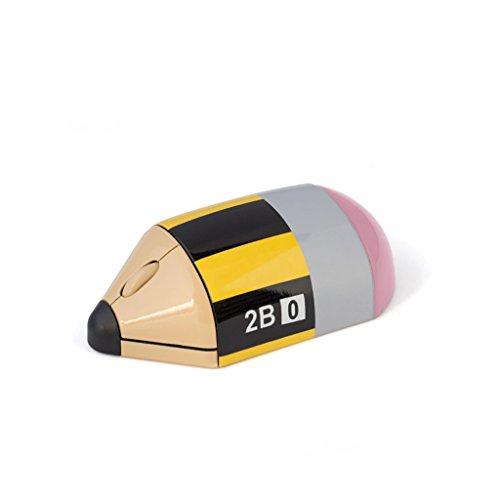 Balvi Ratón inalámbrico Crayon Color Amarillo Mouse inalámbrico para Ordenadores portátiles y Ordenador de Mesa Complemento pc Original, en Forma de lápiz Plástico ABS 3,5x10,8x5,5 cm