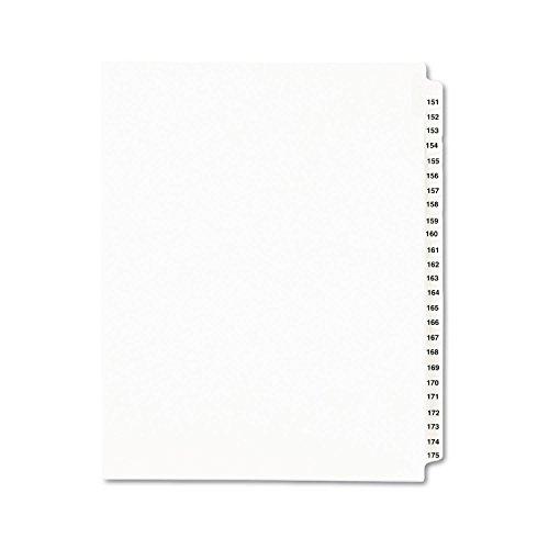 Avery 01336 Legal Exhibit Divider, Side Tabs 151-175, Letter Size, White 25/Set