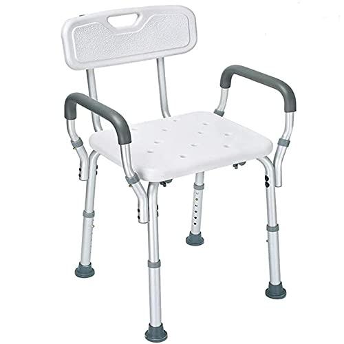 SLRMKK Silla de Ducha para Adultos, Taburete de baño Ajustable en Altura con Respaldo ybrazos extraíbles, Asiento de baño Antideslizante para Personas Mayores, Ancianos y discapacitados