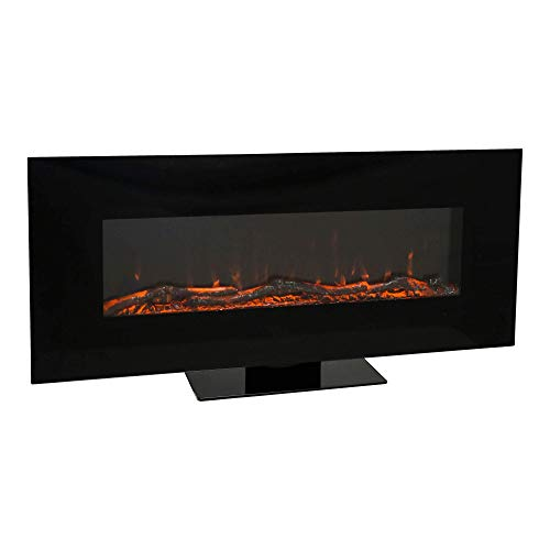 Mayer Fireplaces ELEGANZA Elektrokamin MFP-50 Flat, Kaminofen, 3 Flammenfarben, 2 Heizstufen, max. 1600 W, mit Standfuß & Fernbedienung, Schwarz, 60 x 128 x 26 cm