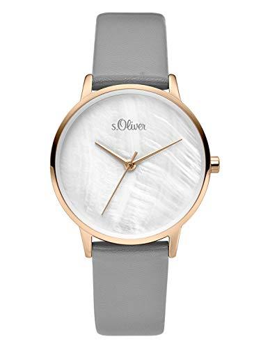 s.Oliver Damen Analog Quarz Uhr mit Leder Armband SO-3742-LQ, grau