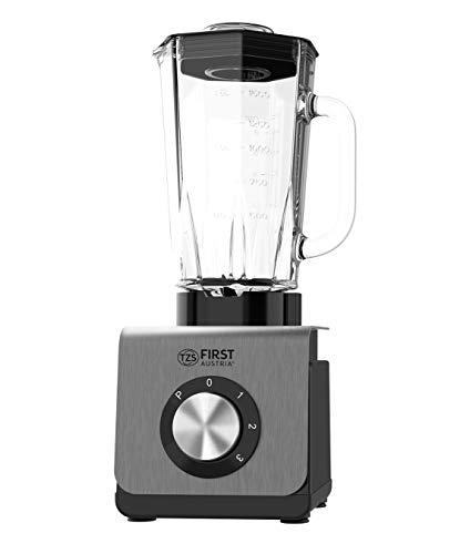 TZS First Austria Standmixer, 1200 W, leistungsstarker Smoothie-Mixer mit abnehmbarer 1,5L Glasschale, Multifunktionsmixer 6 Klingen, 3 Geschwindigkeiten, Eisfunktion, grau/schwarz
