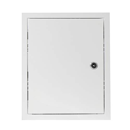 20x25 cm Revisionsklappe mit Schloss - Stahl verzinkt - Weiß - Abschließbar - Revisionstür Revisionsschacht Wartungsklappe (200x250 mm)