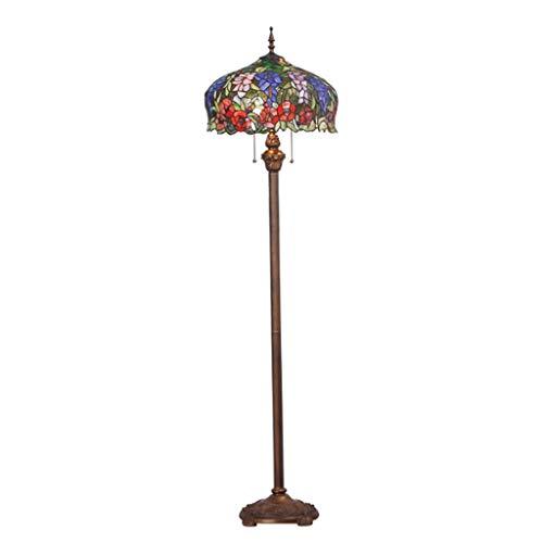 Lámparas de Pie 63' Interruptor nórdica piso retro de la lámpara del vitral de tipo enchufable con cremallera y Pie Arte vidriada metal de la lámpara de la sala for Estándar Lámpara de Piso
