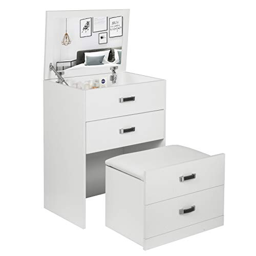 Laneetal 3-in-1 make-uptafel met spiegel en kruk, make-uptafel met opklapbare spiegel, ladekast, commode, 60 * 80 * 40cm, wit