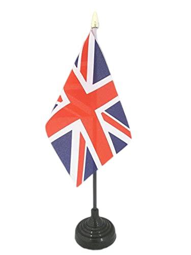 AZ FLAG TISCHFLAGGE Vereinigtes KÖNIGREICH 15x10cm goldene splitze - BRITISCHE TISCHFAHNE 10 x 15 cm - flaggen