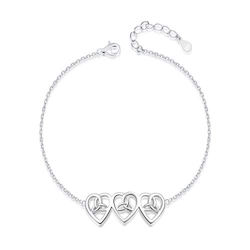 925 Sterling Silver Ankle Bracelets Heart Celtic Trinity Knot Infinity Anklets Adjustable Chain Foot Jewelry for Women Girls
