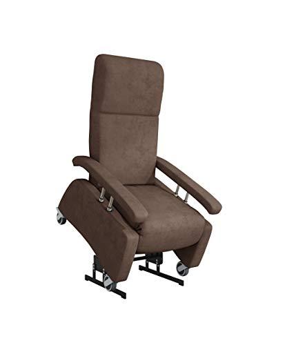 DEVITA - Pflegesessel LUTRA Lift Easy 2 mit Aufstehhilfe bis 140 kg Rollen, Schiebegriff, versenkbare Armlehnen und verstellbarer Rückenlehne - Aufstehsessel, Fernsehsessel, Relaxsessel - mit Netzstecker - chocolat mikrofaser