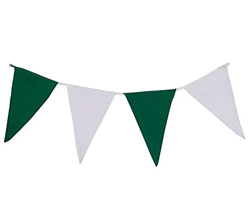 Wimpelkette grün-weiß aus Stoff- 10 Meter 40 Wimpel, wetterfeste Wimpelgirlande für Schützenfeste oder als Garten-Deko, Beste Verarbeitung mit strapazierfähigster Nylonschnur