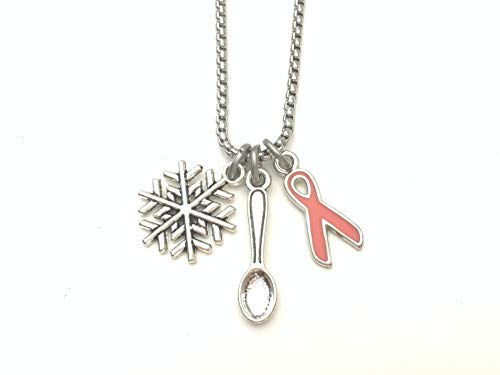 Multiple Sclerosis MS awareness necklace. Stainless steel 17.75 inch chain with orange ribbon, spoon and snowflake charm. By Butler & Grace