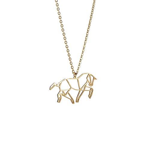 La Menagerie Caballo Oro, Joya de Origami & Collar geométrico Oro Mujer - Collar bañado en Oro 18 Quilates con diseño Animal Caballo - Joyería para niñas y Mujeres