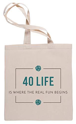 Wigoro 40 Life Commander - Magic The Gathering Einkaufstasche Tote Beige Shopping Bag
