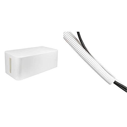 LogiLink KAB0063 - Kabelbox groß (407 x 157 x 133,5 mm), weiß & D-Line CTT1.1W weißer Kabelschlauch | Flexibles Kabelrohr zur Kabelorganisation | Länge 1,1 m, 32 mm Außendurchmesser - Weiß