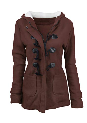 YMING Womens Warm Pea Coat with Hood Button Front Classic Wool Blend Jacket Coffee 2XL