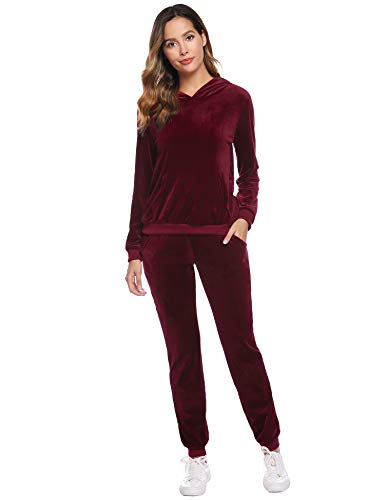 Abollria Survêtement Femme Ensembles Sportswear Sweat Capuche Suit Pull à Capuche avec Poches Casual Jogging Pyjama d'intérieur Tenue Manches Longues Pantalon Joggers Confortable