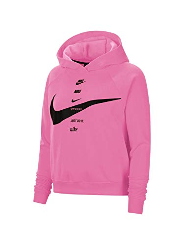 Nike Felpa Fuxia Swoosh con Cappuccio Donna, CU5676-607 Taglia Medium