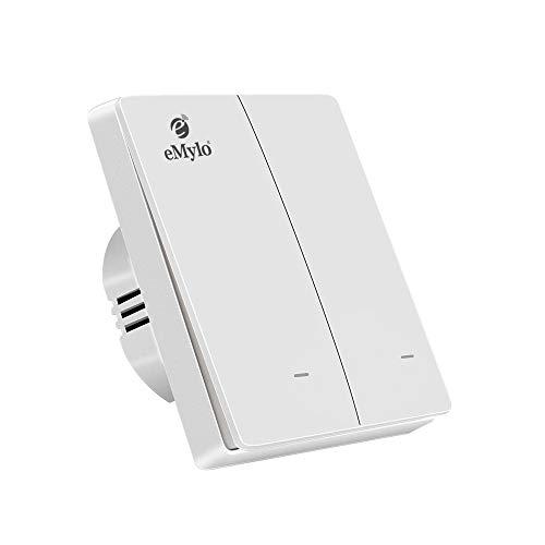 eMylo Smart WiFi Wandschalterbuchse Drahtlose Fernbedienung Lichtschalter Wandschalter Sprachsteuerung Timer Wippschalter Kompatibel mit Alexa/Echo, Neutralleiter nicht erforderlich (2 Gang-Weiß)