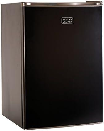 Black + Decker BCRK25B - Mini nevera con congelador, diseño de estrella de energía para nevera, color negro