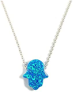 Blue Opal Hamsa Hand Sterling Silver Necklace