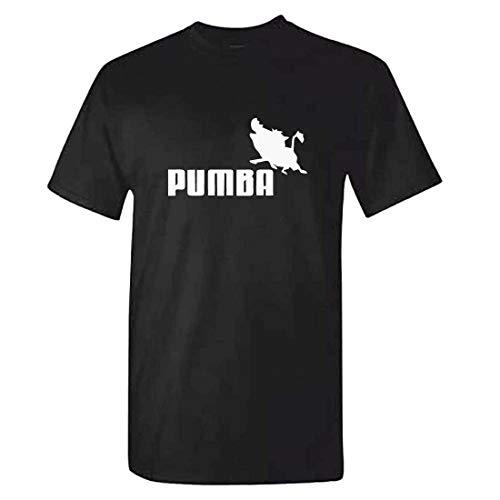 Nololy Pumba Funny Summer 100% Cotton T-Shirt Personalidad gráfica Número de Letra Camiseta con Estampado de Animales Moda Casual O-Cuello Top Hombre Suelto Manga Corta