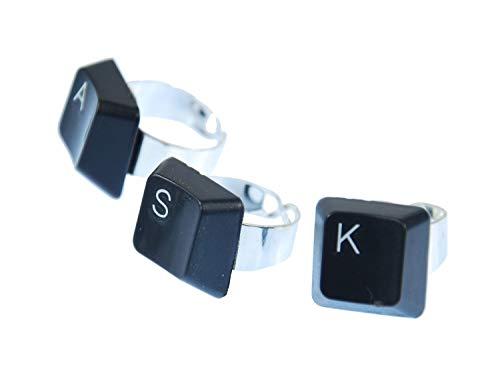 Miniblings Tastatur Ring WUNSCHBUCHSTABE Initialen individuell Computer PC ABC - Handmade Modeschmuck I Fingerring mit Motiv I verstellbar one Size, Buchstabe:P