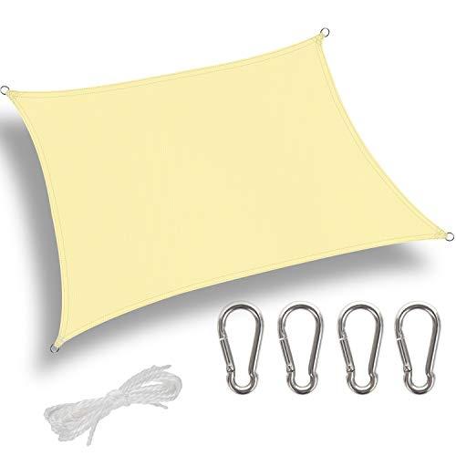 GeeRic Sonnensegel Rechteckig Sonnenschutz Viereckig 2.5x3m UPF 50+ Sonnenschutz aus reißfestem Polyester, wetterfest, Garten, Balkon, Terrasse, Camping