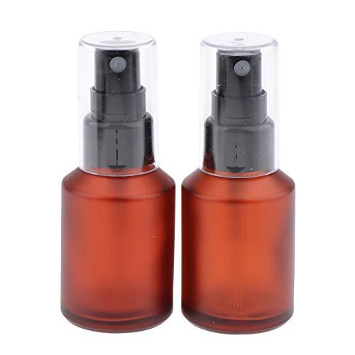2 Stück Nachfüllbar Leer Pumpe Flasche Sprühflasche Sprayflasche für Kosmetik, Selbst zum Befüllen, Braunglas - 30 ml