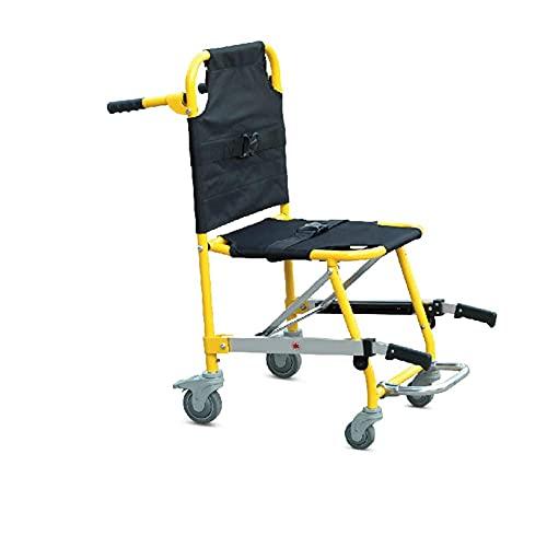 H&1 Silla de Ruedas eléctrica Silla de Ambulancia Ligera de Aluminio para Bombero Evacuación Levante y baje 4 Ruedas Plegables