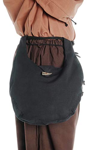 HEMAD Mittelalter Tasche Egil aus Baumwolle Schwarz Gewandung LARP