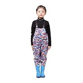 QTDZ Bottes Antidérapantes pour Enfants Bootfoot, Waders Super Hauts Épaissis pour Enfants Chaussures Pêche Et De Chasse…