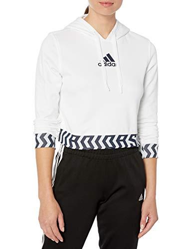 adidas Damen Gbl Crop Hooded Sweatshirt, Damen, Kapuzenpullover, Gbl Crop Hooded Sweatshirt, weiß, Large