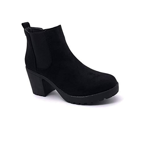 Angkorly - Mode schoenen Enkellaars Boot Chealsea Laarzen Hoge hak Vrouw Simpel basis Klassiek Blok 8 CM - Zwart TORI19 T 38